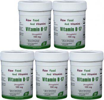 5 Bottles of 100mg Vitamin B17 (500 TABLETS Total)