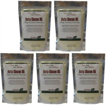 5 Bags of Beta Glucan Bulk Raw Powder - 1000 Servings of 500mg Total
