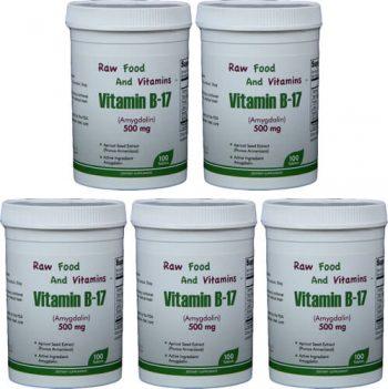 5 Bottles of 500mg Vitamin B17 (500 TABLETS Total)