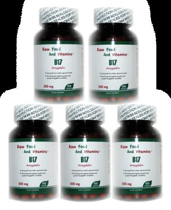 5 Bottles of 500mg Vitamin B17 (500 CAPSULES Total)