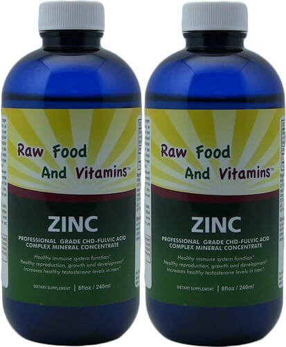 2 Bottles Liquid Ionic Zinc Mineral 8oz Each