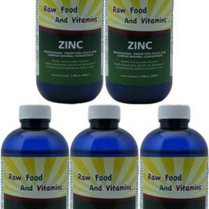 5 Bottles Liquid Ionic Zinc Mineral Concentrate 8oz Each